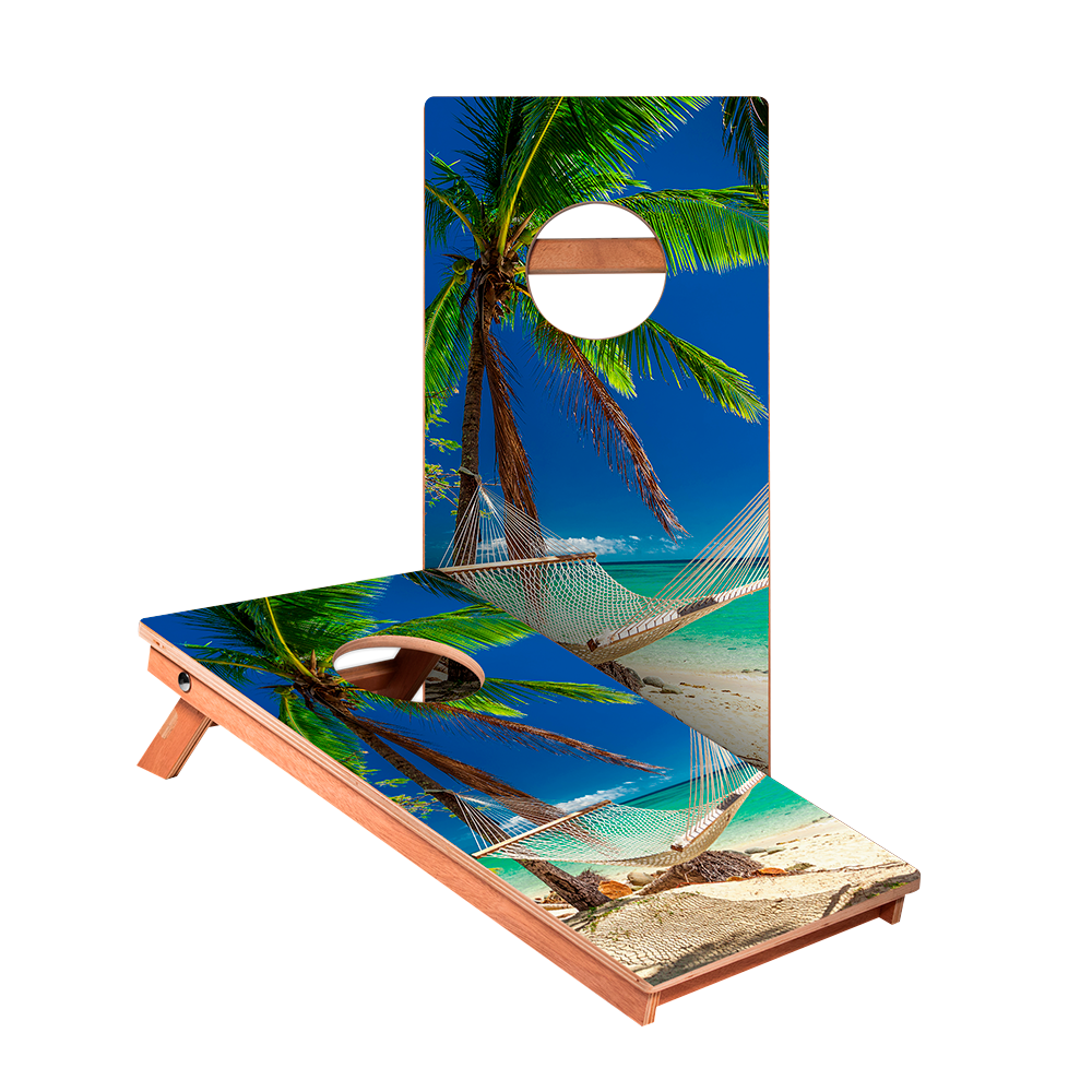 Hammock On The Beach Tropical Junior Cornhole Boards bag toss game set