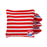 Red & White Stripes Corn Filled Cornhole Bags