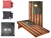 CP2 Rustic American Flag Recreation Cornhole Boards Bundle with All Weather (4) Stars and (4) Stripes Cornhole Bags and Nylon Tote