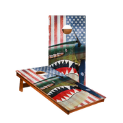 MP2 Vintage American Flag Plane Professional Cornhole Boards