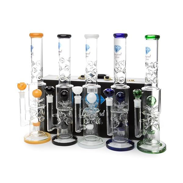 Diamond Haze Large Percolator Glass Bong with Case -  ZG001