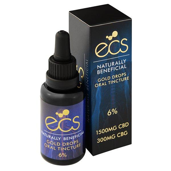 ECS Gold Drops 6% 1500mg CBD + CBG Oil 30ML