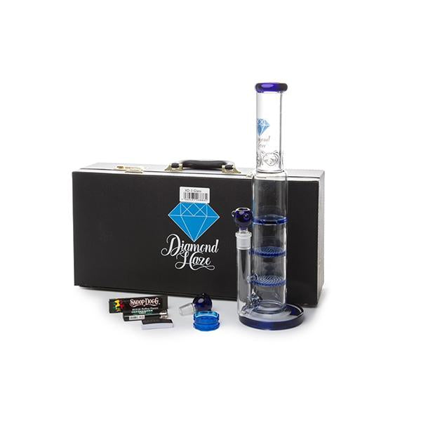 Diamond Haze Percolator Glass Bong In Hard Case with Accessories - XD3