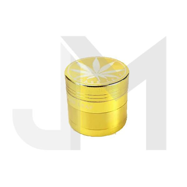 4 Parts Small Metal Gold Coloured 40mm Leaf Print Grinder - HX004G