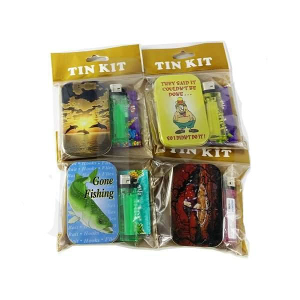 Smoking Tin Kit - Lighter, King Size Rolling Paper & Storage Box