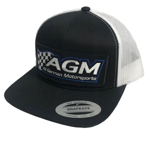 Black | White Snap Back Hat | AGM-Products | Work Smart, Play Hard
