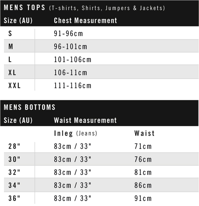 mens streetwear tops and bottoms size guide
