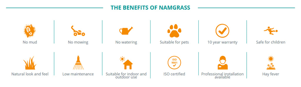 Benefits of Namgrass artificial grass from plymouth artificial grass