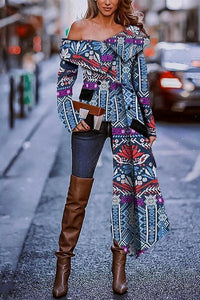 Sexy Fashion Strapless Print Long Sleeve Blouse
