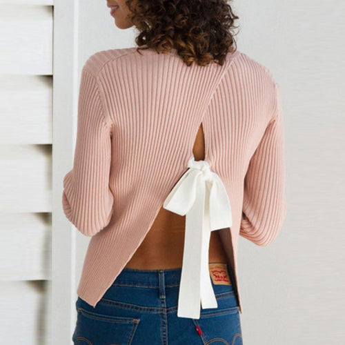 Round Neck  Backless Sweaters