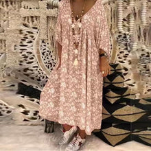 Load image into Gallery viewer, V Neck Printed Loose Half Sleeve Maxi Dresses
