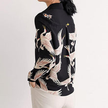 Load image into Gallery viewer, Fashion Lapel Red-Crowned Crane Chiffon Shirt