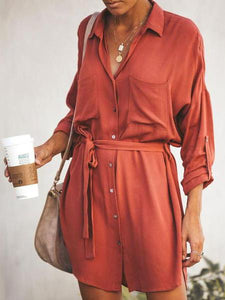 Turn Down Collar  Belt  Plain Long Sleeve Casual Dresses