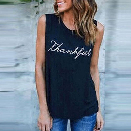 Casual Summer Round Neck Sleeveless Loose Print Letters T-Shirts Tops