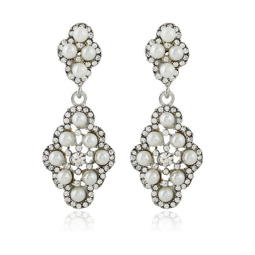 Pair Of Faux Pearl Rhinestone Earrings
