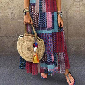Bohemian Splicing Round Neck Sleeveless Maxi Dress Long Dresses
