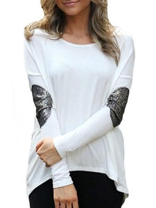 Fascinating Paillette Asymmetrical Hems Long-Sleeve-T-Shirt