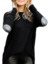 Load image into Gallery viewer, Fascinating Paillette Asymmetrical Hems Long-Sleeve-T-Shirt
