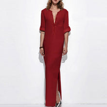 Load image into Gallery viewer, Band Collar  Patch Pocket  Plain  Polyester Maxi Dress