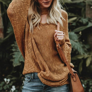 V  Neck   Plain   Casual  Sweaters