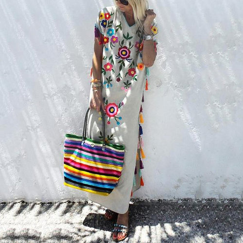 Cotton Casual V-Neck Tassel Maxi Dress