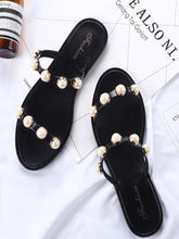 Load image into Gallery viewer, Casual Clip Toe Flat Sandals With Pearl