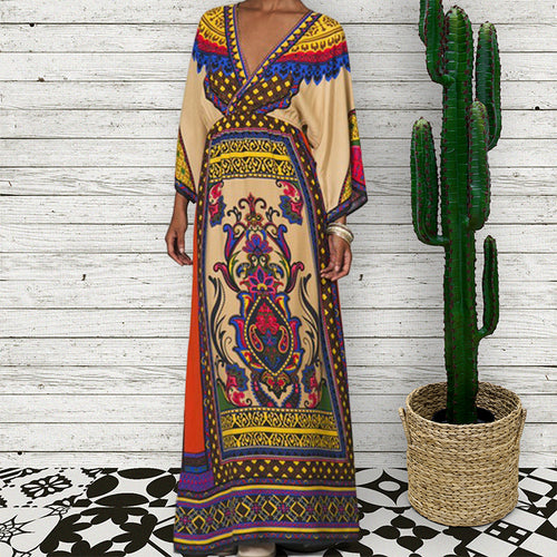 Bohemia Style Printed Defined Waist Vacation Dress