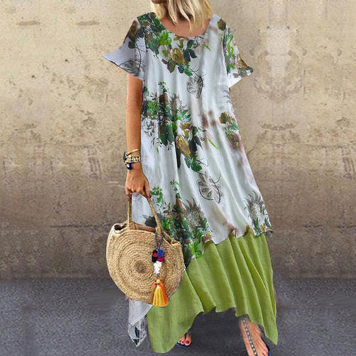 Round Neck  Asymmetric Hem  Floral Printed Maxi Dress