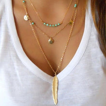 Load image into Gallery viewer, Layered Turquoise Embellished Leaf Feather Necklace