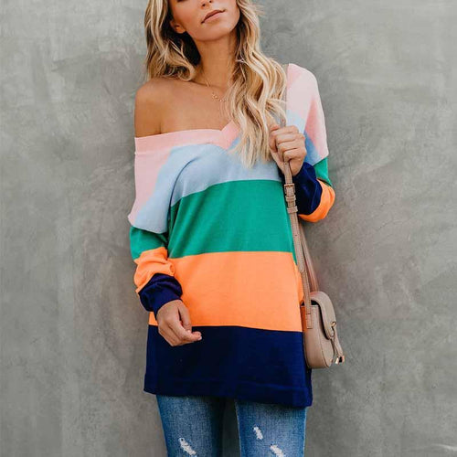 V Neck  Color Block Striped T-Shirts