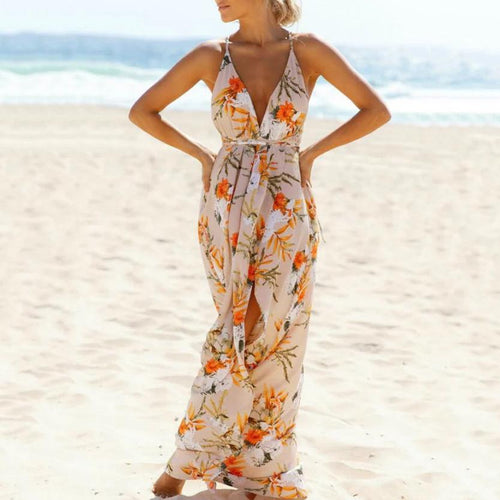 Holiday Wind Beach Print Halter Strap Vacation Dress