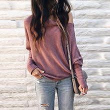 Load image into Gallery viewer, Round Neck  Plain  Batwing Sleeve Sweaters