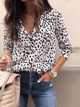Load image into Gallery viewer, Fashion Sexy Turn Down Collar  Leopard  Blouses