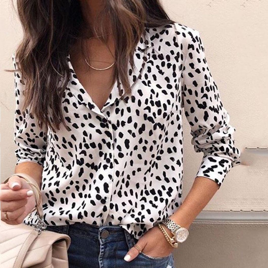 Fashion Sexy Turn Down Collar  Leopard  Blouses