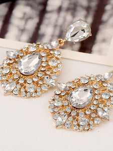 Extravagant Rhinestone Water Drop Earrings