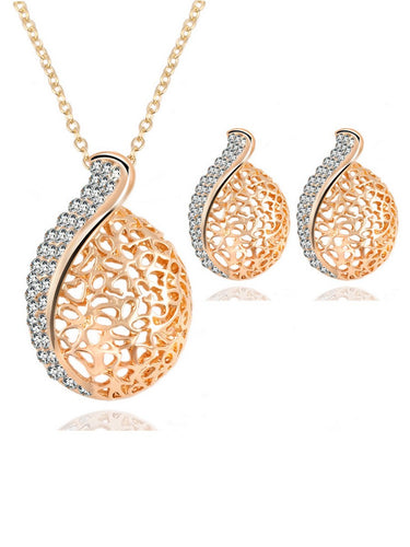 Rhinestone Hollow Necklace Earrings Set