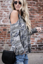 Load image into Gallery viewer, Open Shoulder  Camouflage Fashion T-Shirts