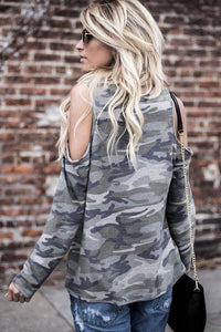 Open Shoulder  Camouflage Fashion T-Shirts