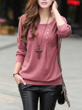 Load image into Gallery viewer, Round Neck Decorative Button Plain Long Sleeve T-Shirt
