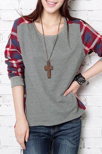 Round Neck  Asymmetric Hem  Checkered Color Block T-Shirts