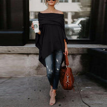 Load image into Gallery viewer, Off Shoulder Asymmetric Hem Casual Loose Street Plain T-Shirts Tops