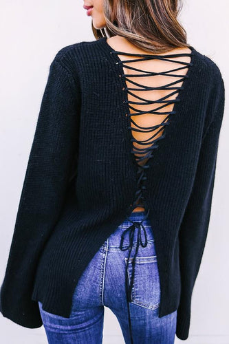 Round Neck  Cross Straps  Plain  Bell Sleeve Sweaters