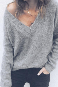 V Neck  Two Way  Plain Sweaters