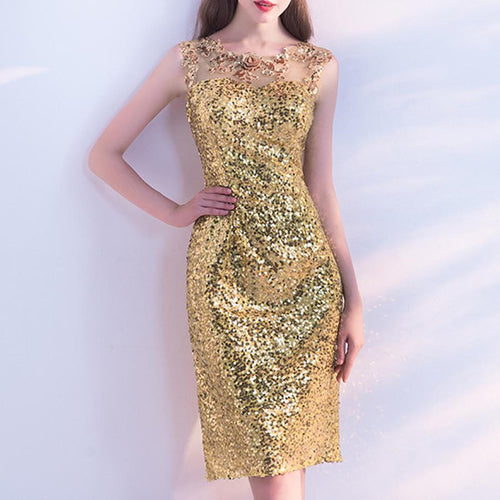 Gold Flower Sequins Wedding Evening Dress