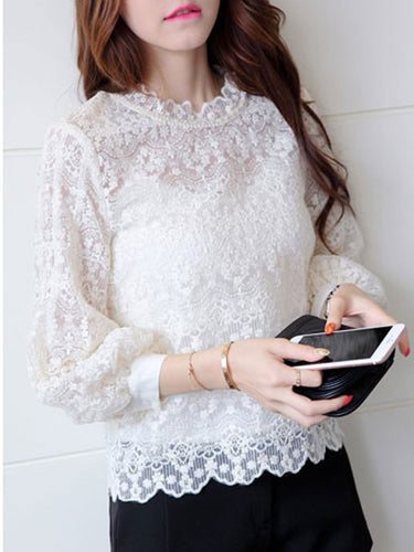 Round Neck  Decorative Lace  Floral  Puff Sleeve  Long Sleeve Blouses