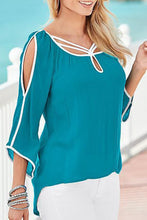 Load image into Gallery viewer, Scoop Neck  Asymmetric Hem Contrast Trim  Patchwork Blouses