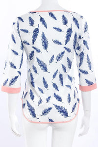 Round Neck Leaf Printed  Blouses