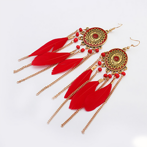 Bohemian Feather Chain Tassel Earrings