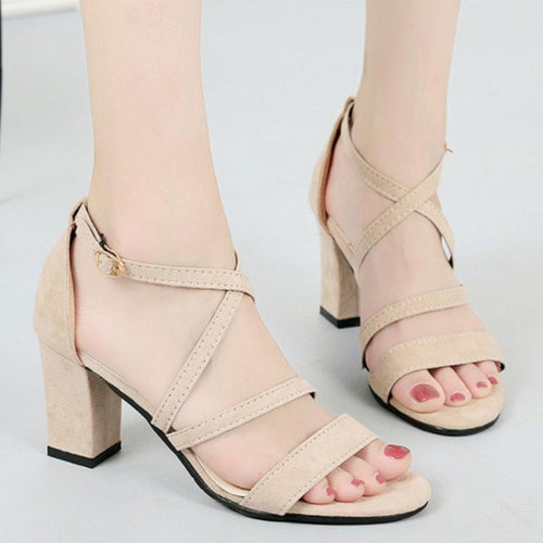 Chunky  High Heeled  Velvet  Ankle Strap  Peep Toe  Date Office Sandals