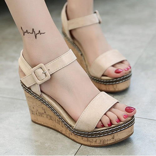 Plain  High Heeled  Velvet  Ankle Strap  Peep Toe  Casual Sandals